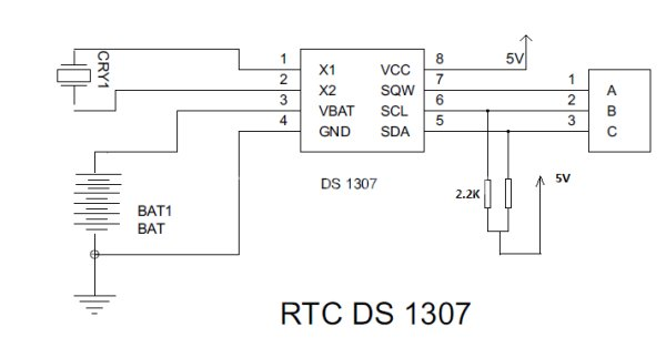 Interfacing RTC with Microcontroller schematic