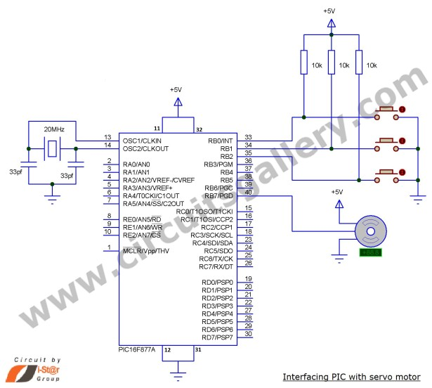 Servo Motor Control using Microcontroller PIC16F877A schematic