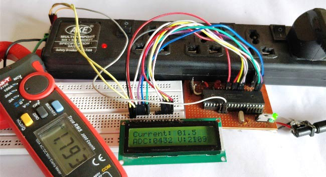 Digital DC watt meter project using pic microcontroller