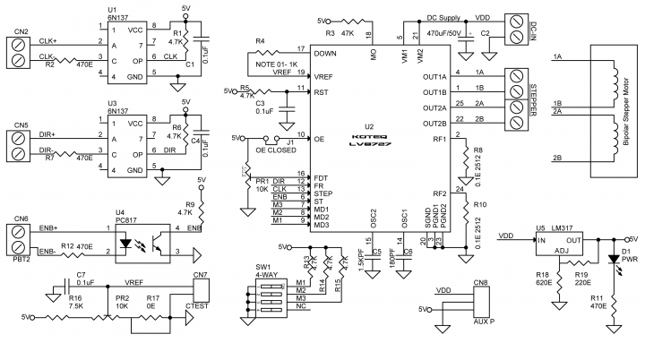 4A Bipolar Stepper Motor Driver Based on LV8727E