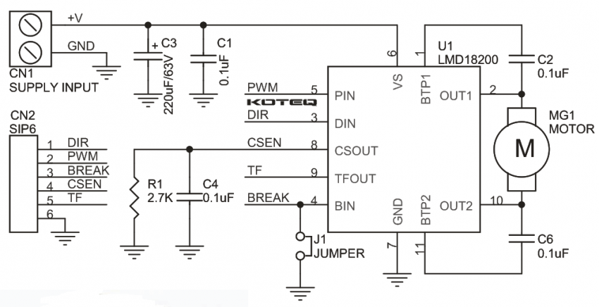 LMD18200 H-Bridge Module for DC Motor