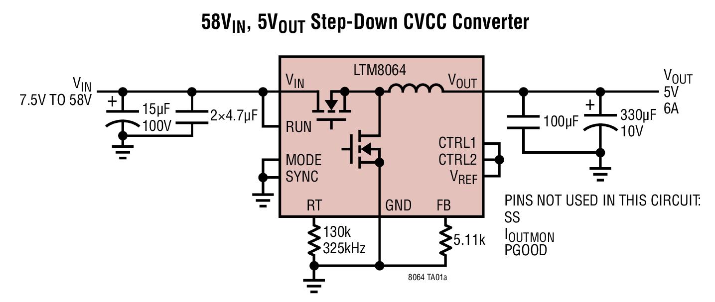 LTM8064 - 58VIN, 6A CVCC Step-