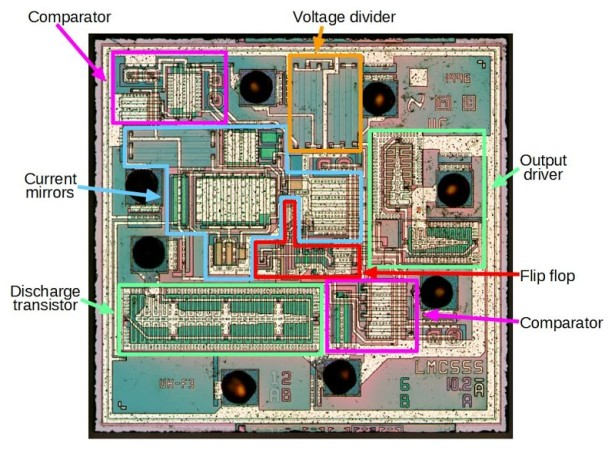 Reverse engineering the popular 555 timer chip (CMOS version)