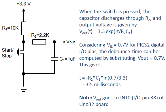 Stopwatch Start Stop switch with a hardware deboucing circuit