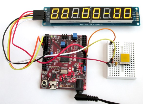 Stopwatch starts with all zeros on seven segment LED display