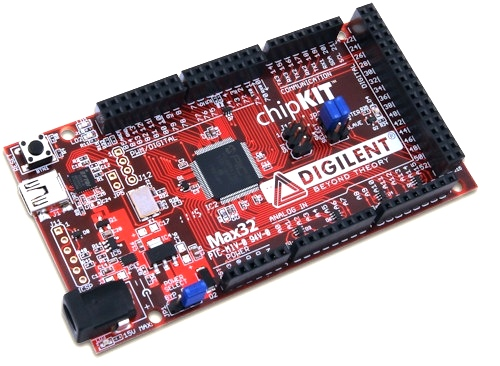 chipKIT Max32 is the same form factor as the Arduino Mega board
