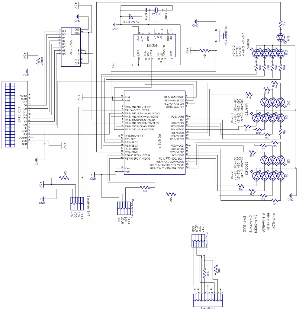 Schematic Digital & Binary clock with thermometer & hygrometer