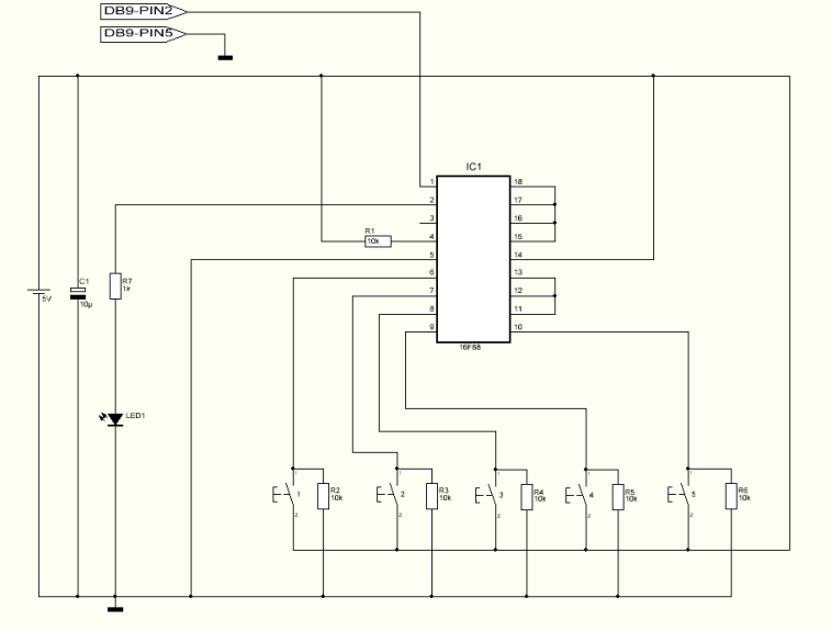 Schematic MultiKey One Wire Keypad