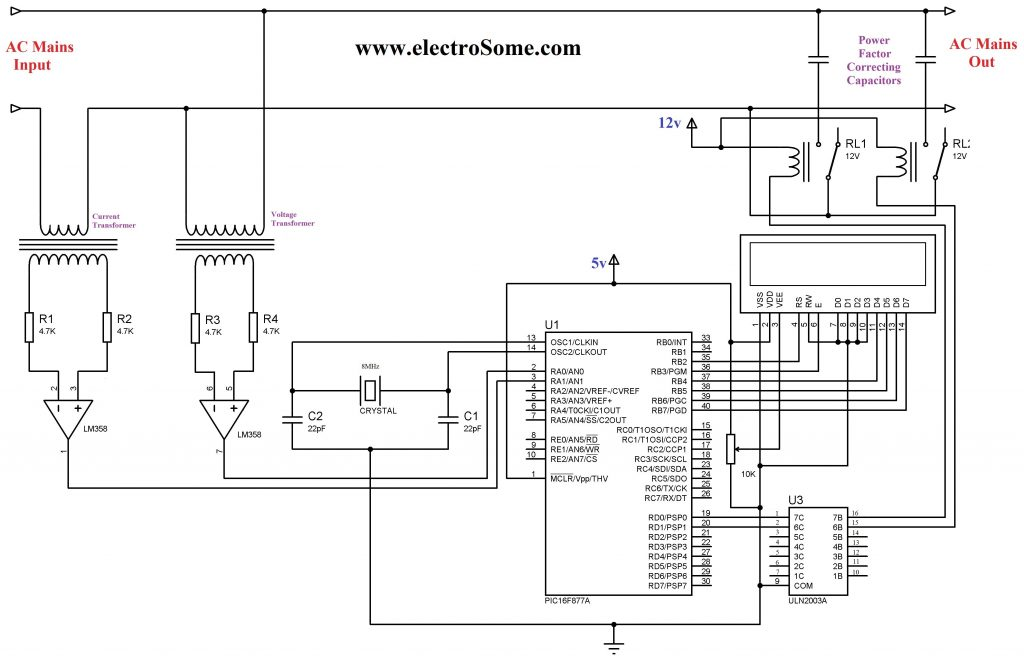 Schematic Automatic Power Factor Controller using Microcontroller