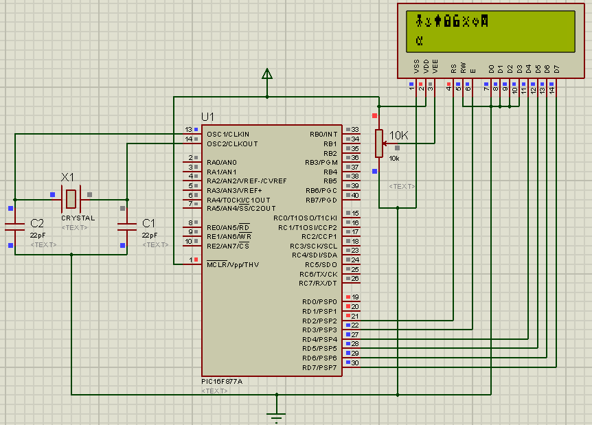 Schematic Display Custom Characters on 16x2 LCD using PIC Microcontroller and XC8