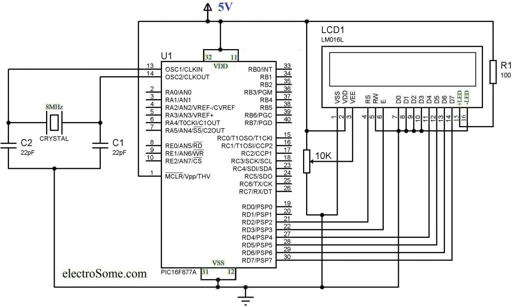 Schematic Interfacing LCD with PIC Microcontroller – MPLAB XC8