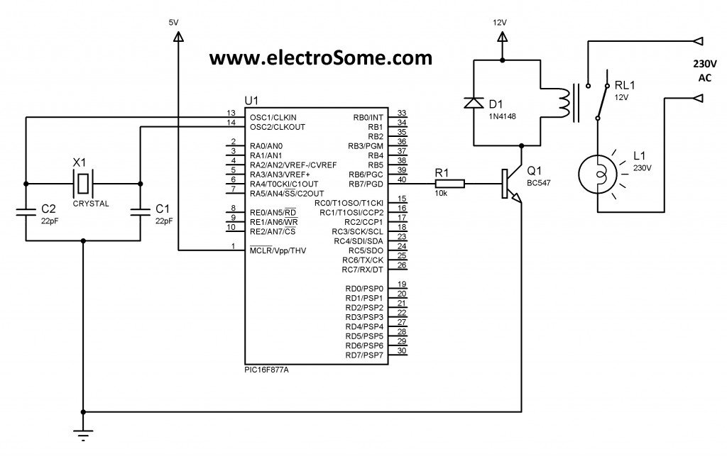 Schematic Interfacing Relay with PIC Microcontroller