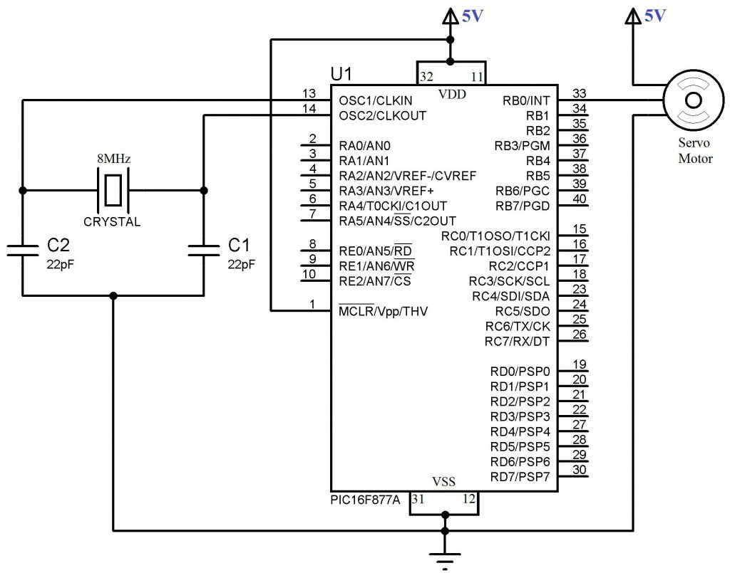 Schematic Interfacing Servo Motor with PIC Microcontroller – MPLAB XC8