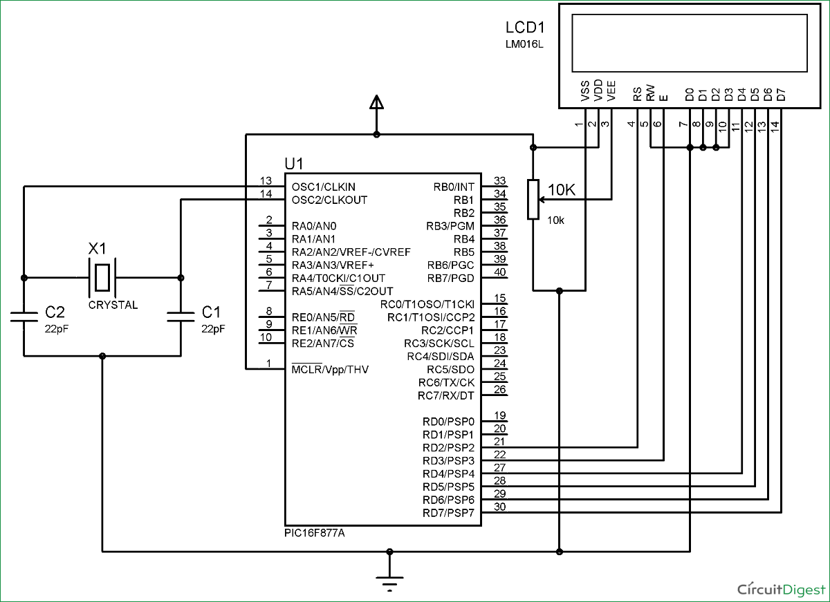 Schematic LCD Interfacing with PIC Microcontroller using MPLABX and XC8
