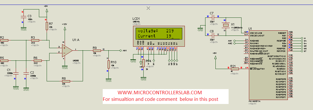 AC Voltage measurement using PIC16F877A microcontroller