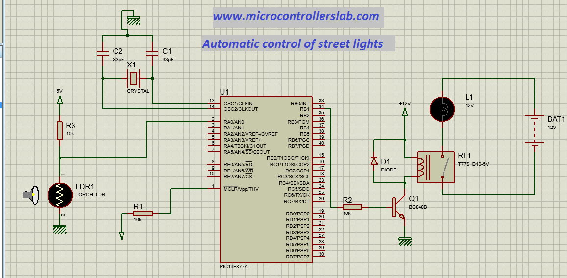 Schematic Automatic control of street lights