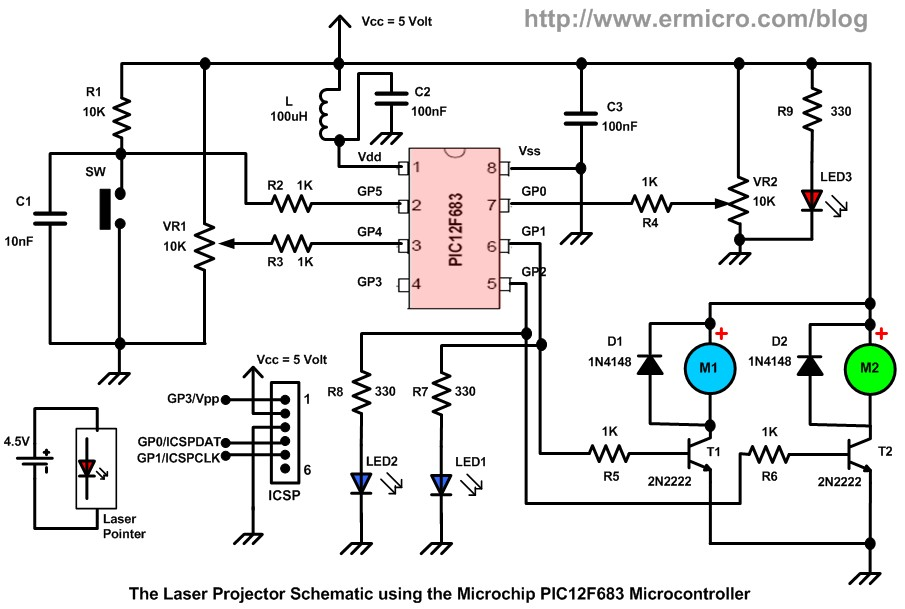 Schematic Building your own Simple Laser Projector using the Microchip PIC12F683 Microcontroller