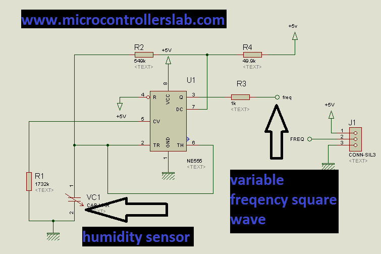 Schematic Digital humidity sensor using PIC microcontroller