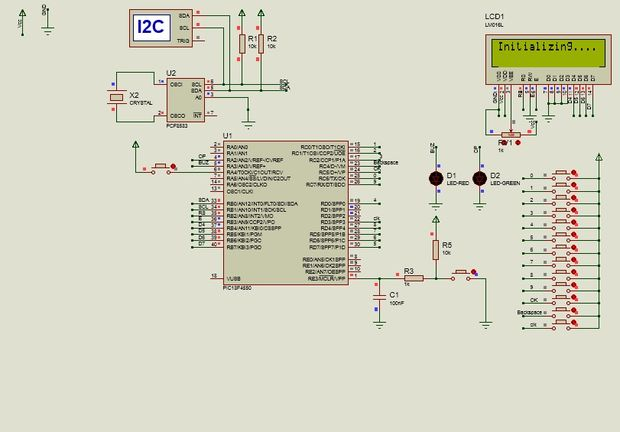 Schematic Electronic Security System With RTC and User Define Pin Code