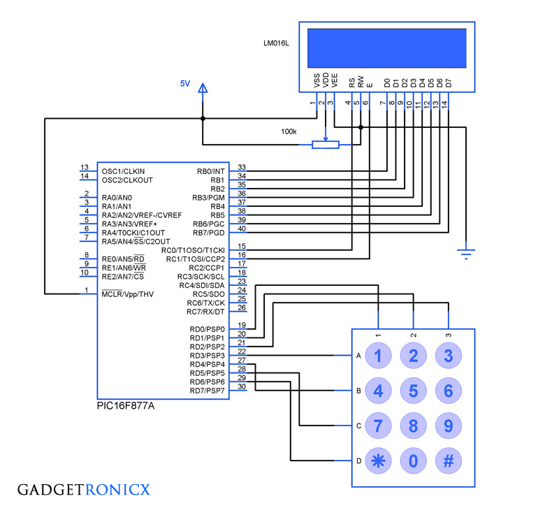 Schematic Interfacing LCD and Keypad with PIC16F877A Microcontroller