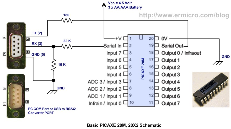 Schematic Introduction to the Embedded System with PICAXE Microcontroller