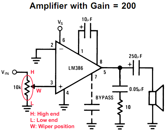 Schematic LM386 based stereo audio amplifier with digital volume control