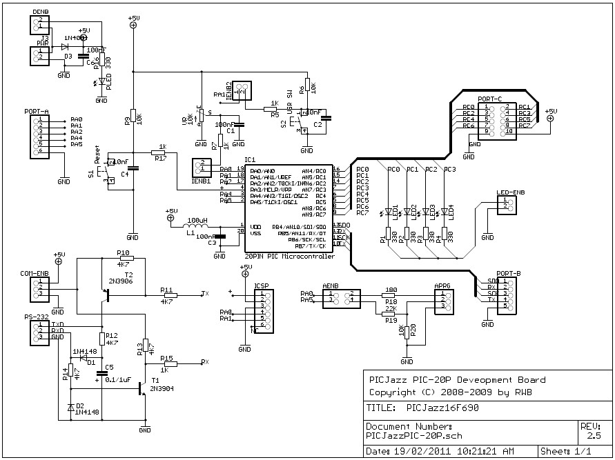 Schematic PICJazz 20PIN Learning and Development Board