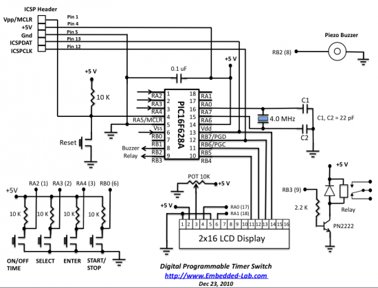 Schematic Programmable digital timer switch using a PIC Microcontroller