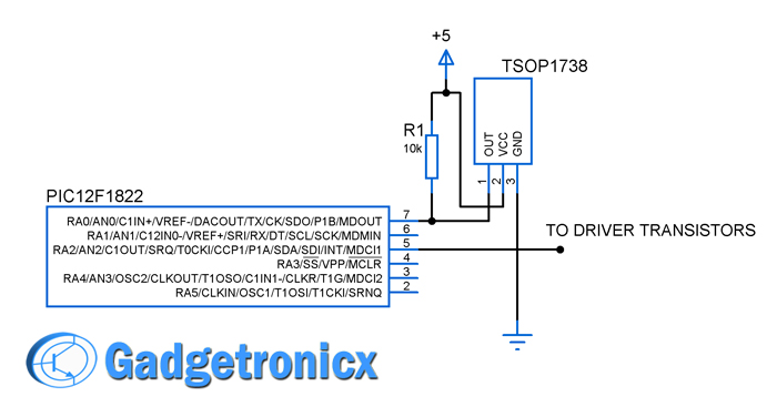 Schematic Remote controlled LED lighting effects