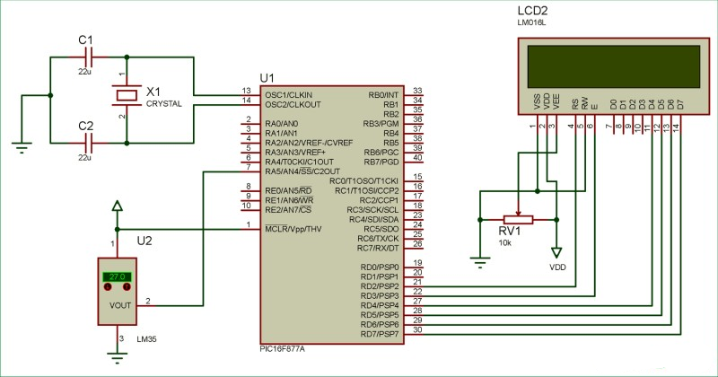 Digital-Thermometer-circuit-diagram-using-LM35-and-PIC-microcontroller