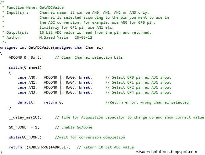 PIC12F675 ADC code and Proteus simulation