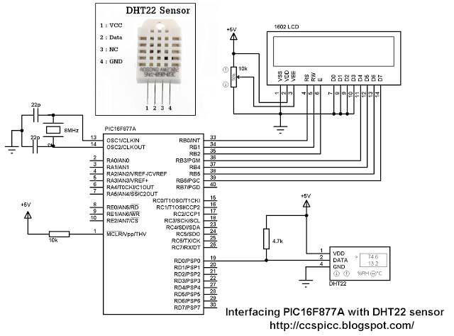 Circuit Interfacing PIC16F877A with DHT22(AM2302-RHT03) sensor using CCS PIC C