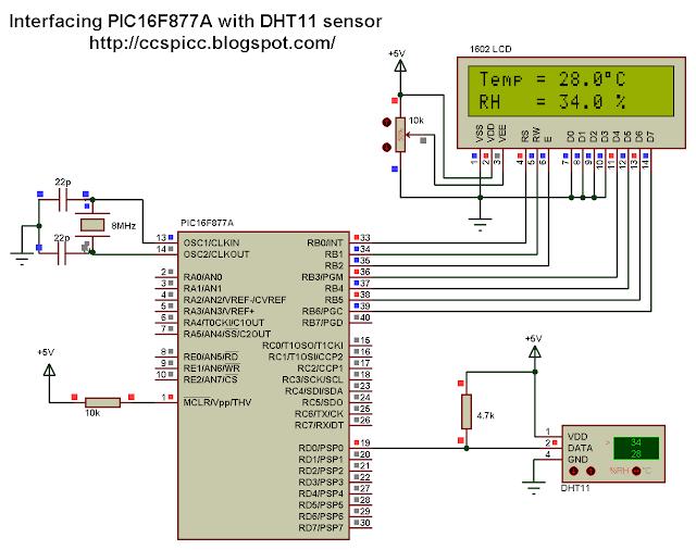 Interfacing PIC16F877A with DHT11 (RHT01) sensor Proteus