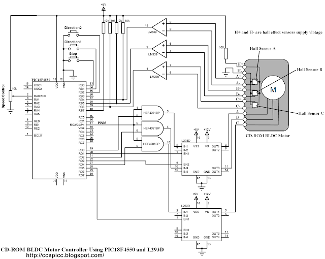 Schematic CD-ROM BLDC motor controller using PIC18F4550 and L293D