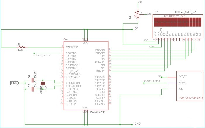 Circuit Diagram for Pulse Sensor interfacing with PIC Microcontroller