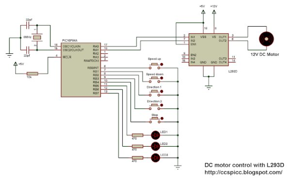 DC motor control with PIC16F84A and L293D schematics