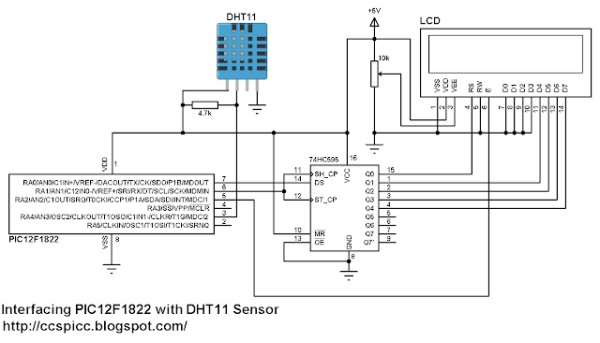 DHT11 Interfacing with PIC12F1822 microcontroller schematics