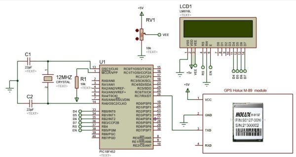 Display GPS Co-ordinates on LCD using pic microcontroller schematics