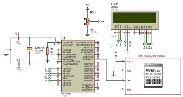 GPS based speedometer using pic microcontroller schematics