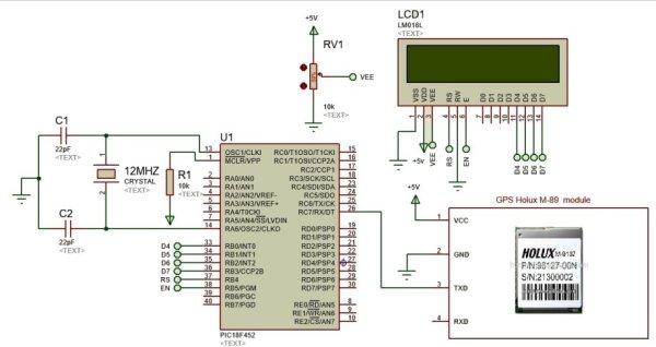 GPS based speedometer using pic microcontroller schematics