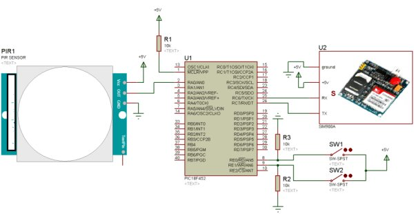 Home security system using PIR sensor and GSM module schematics