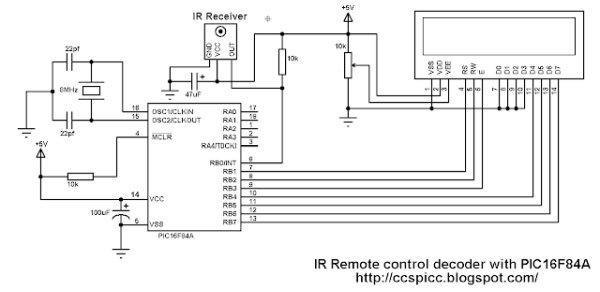 NEC Remote control decoder with PIC16F84A  schematics