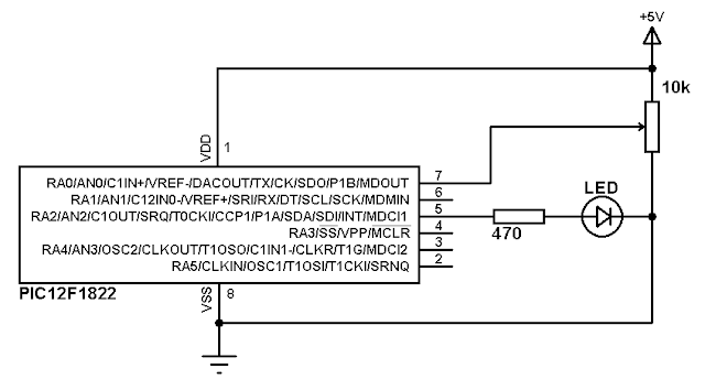 PIC12F1822 ADC and PWM modules schematics