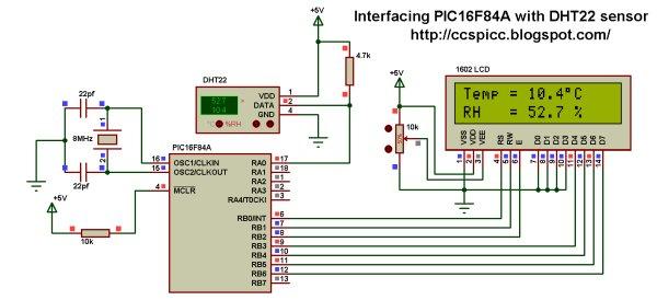 PIC16F84A + DHT22(AM2302, RHT03) sensor Proteus simulation schematics