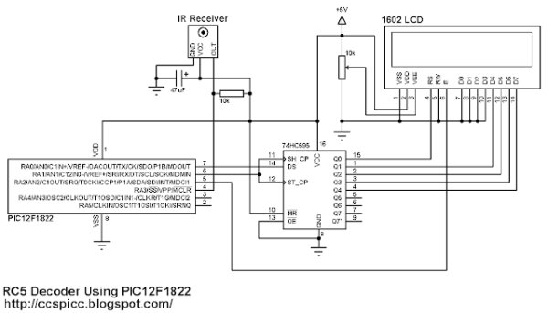 RC5 IR Remote Control Decoder with PIC12F1822 Microcontroller  schematics