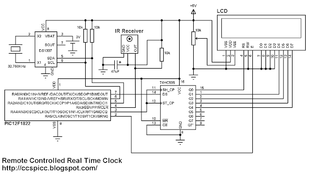 Real Time Clock Calendar with Remote Control  schematics