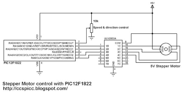 Unipolar Stepper Motor Control Example with PIC12F1822 Microcontroller schematics