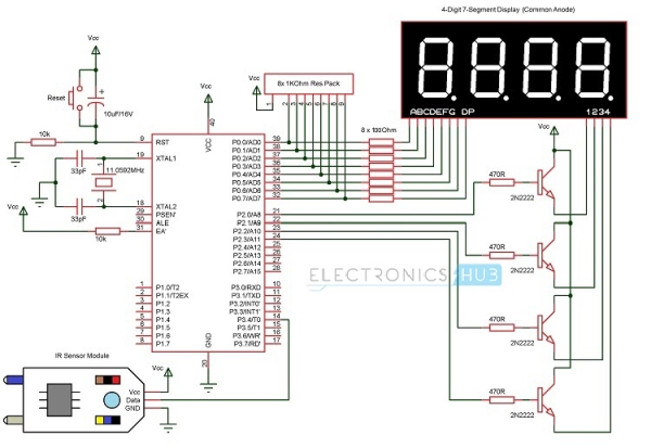 Circuit Diagram of Contactless Digital Tachometer
