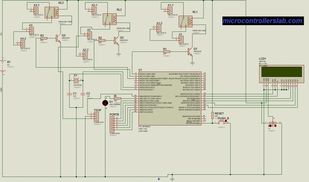 Circuit diagram of Tv remote controlled home automation system