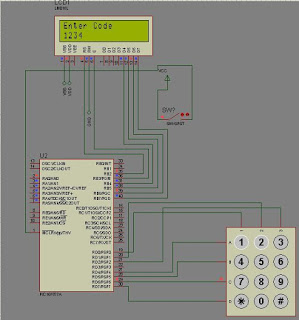 Electronic lock using pic microcontroller Circuit Diagram